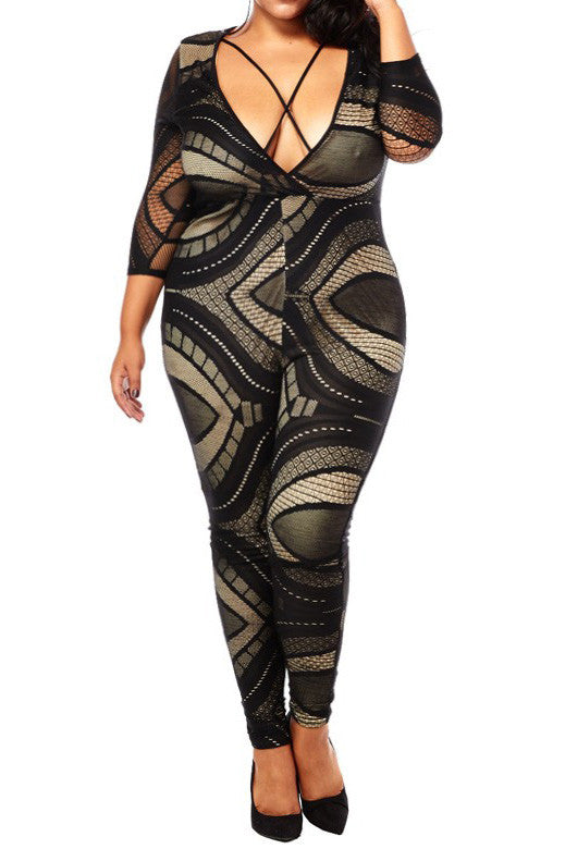 Plus Size Lace Strappy Cut Out Jumpsuit