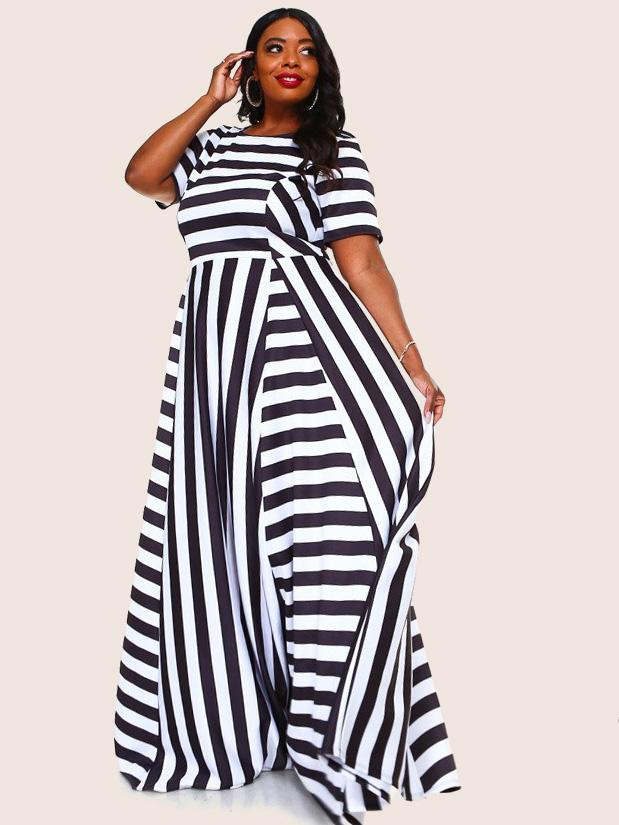 Plus Size Glam Multi Stripe Maxi Scuba Dress