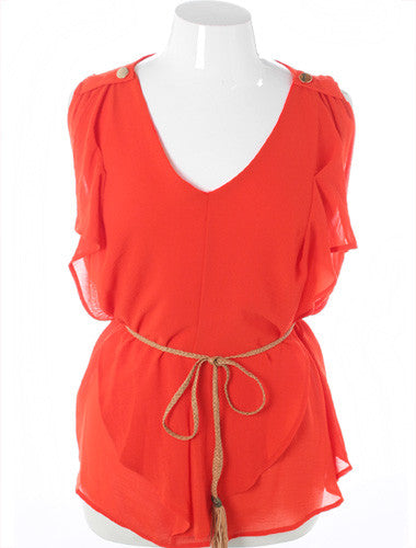 Plus Size Designer Layered Ruffle Breeze Orange Tank
