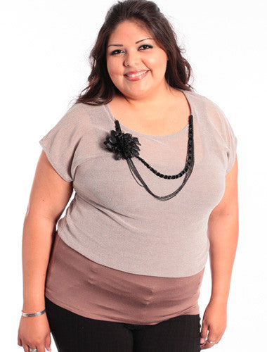 Plus Size Sexy Boyfriend Layered Knit Tan Top