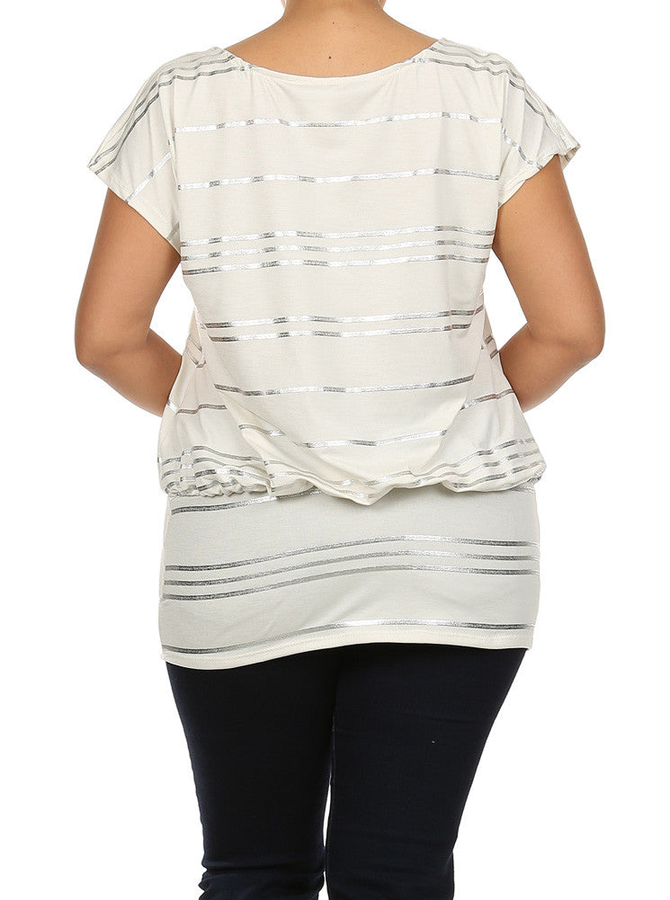 Plus Size Silver Foil Striped Drop Waist White Top