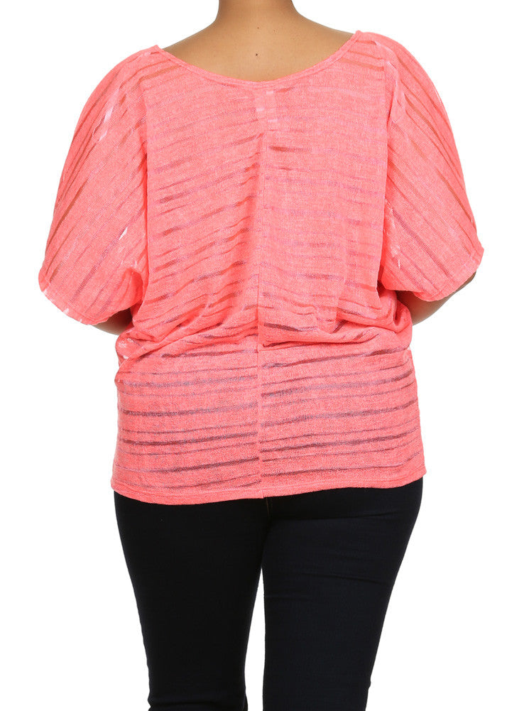 Plus Size Peep Through Striped Knit Neon Pink Top