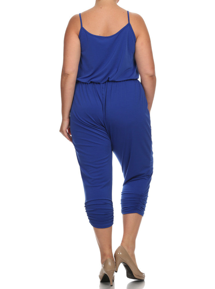 Plus Size Dashing Surplice Neckline Blue Jumpsuit