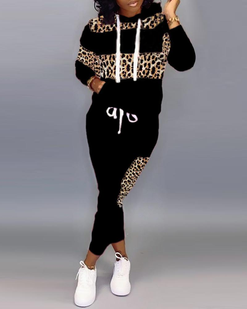 Plus Size Hooded Colorblock Leopard Drawstring Sweatshirt & Pants Sets