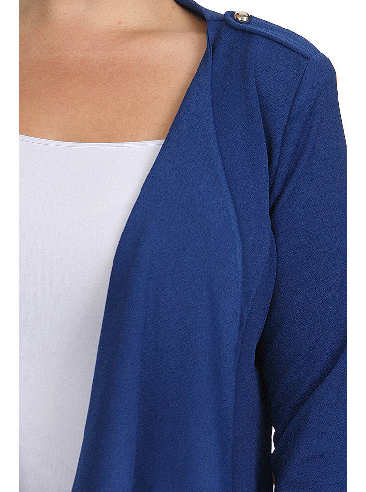 Plus Size Casual Friday Open Front Blue Jacket