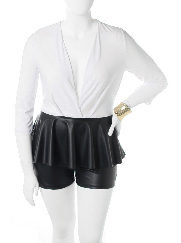 Plus Size Peplum Leather White Romper