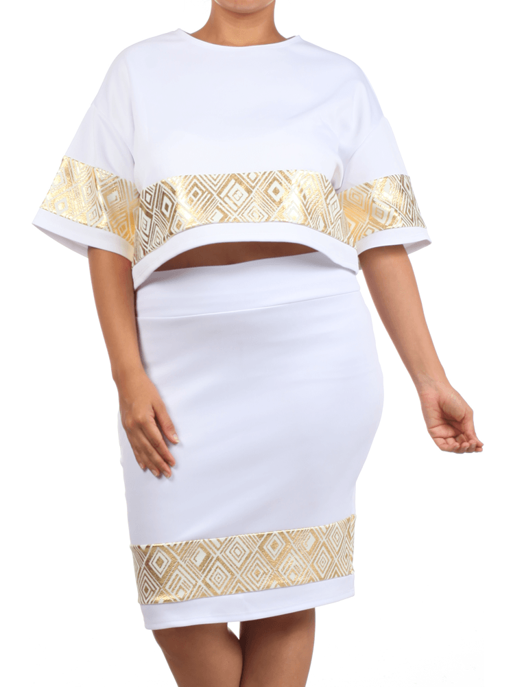 Plus Size Foil Diamond Print Boxy Crop Top White Skirt Set