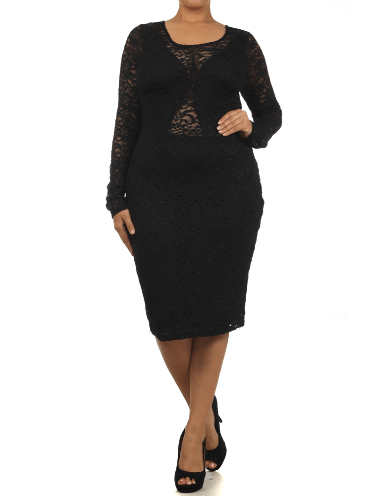 Plus Size Dazzling Floral Lace Black Midi Dress
