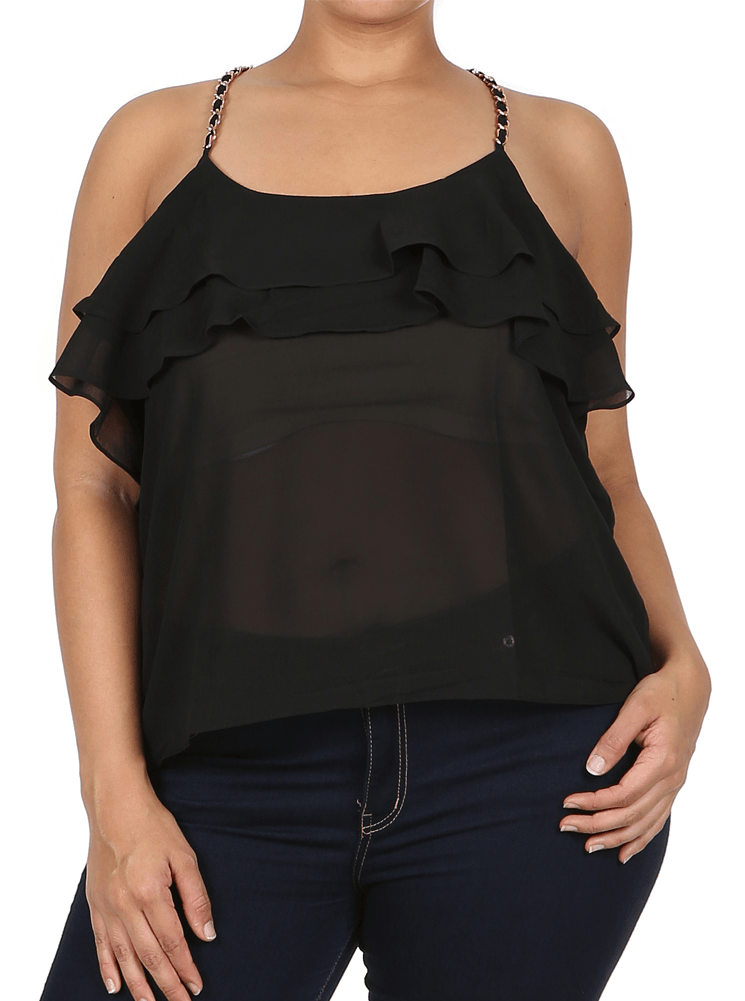 Plus Size Coquette Ruffles Gold Straps Sheer Black Top