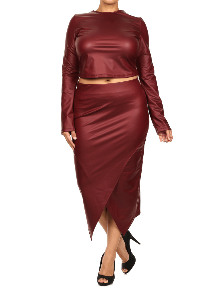 Plus Size Long Sleeve Crop Top Burgundy Skirt Set