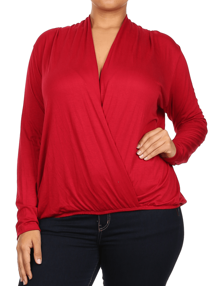 Plus Size Open Cross Over Front Red Top