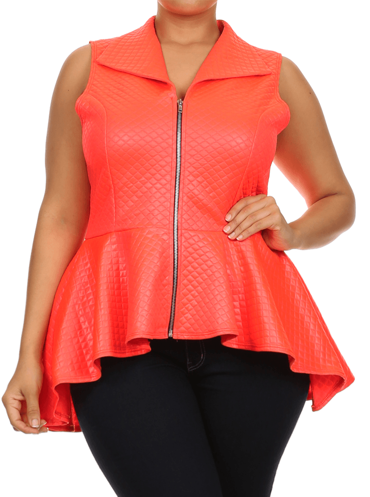 Plus Size Let's Ride Diamond Peplum Orange Top