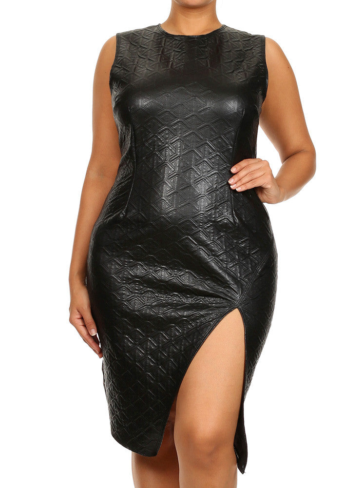 Plus Size Diamond Pattern Jagged Hem Leather Dress