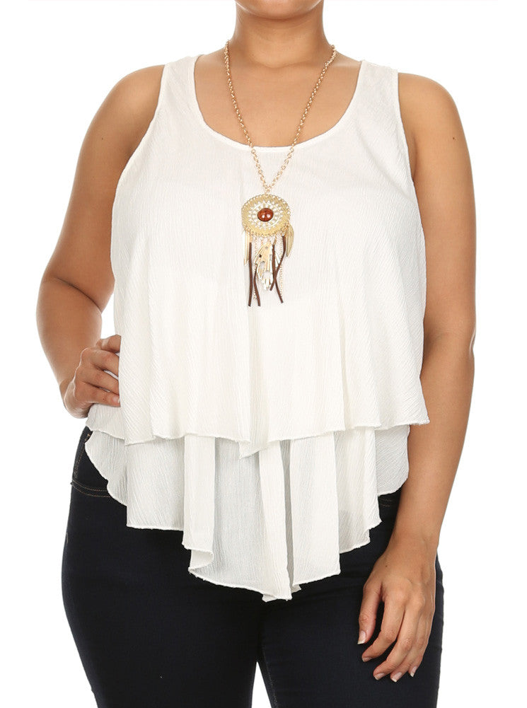 Plus Size Flowy Dream Catcher Necklace White Top
