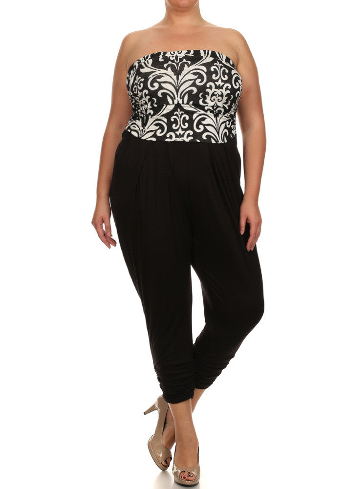 Plus Size Hot Victorian Print Jumpsuit