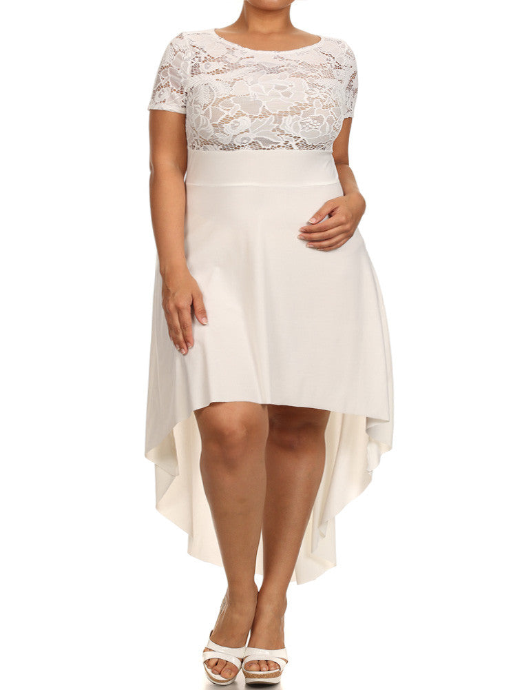 Plus Size Floral Living Dip Hem See Through Lace Dress