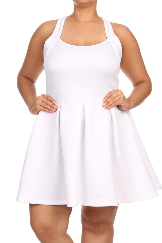 Plus Size Flare Game Crossed Back White Dress