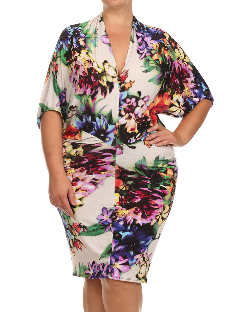 Plus Size Sexy Off Shoulder Floral Dress