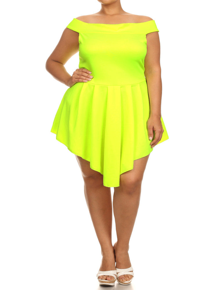 Plus Size Off Shoulder V Hem Skater Neon Yellow Dress ...