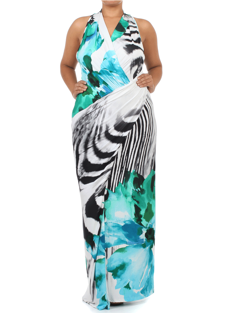 Plus Size Charming Watercolor Art Maxi Dress