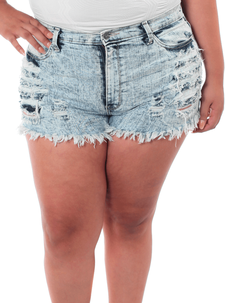 Plus Size Acid Frayed Light Denim Slashed Shorts