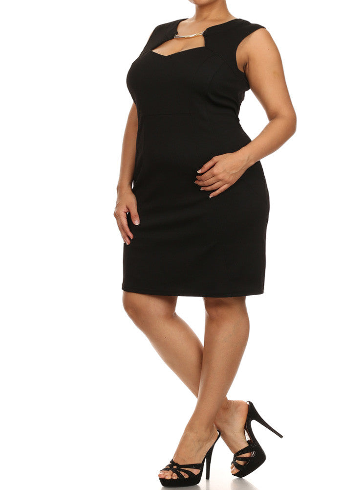 Plus Size Midnight Crush Gilded Neckline Black Dress