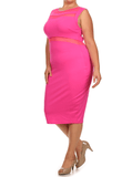 Plus Size Sexy Scuba Mesh Pink Midi Dress