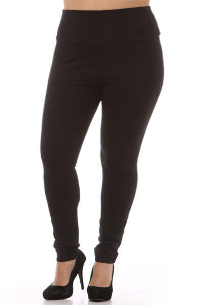 Plus Size Basic Waist Black Leggings