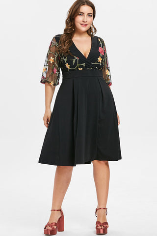 Plus Size Adorable Embroidered Floral Flare A Line Dress