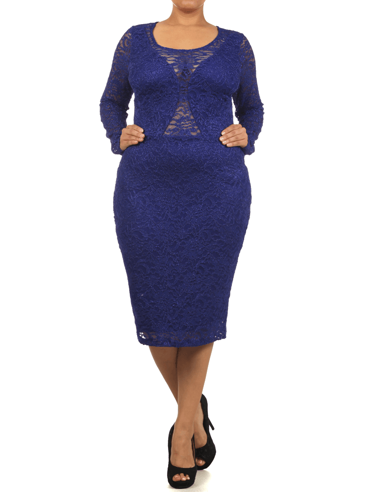 Plus Size Dazzling Floral Lace Royal Blue Midi Dress