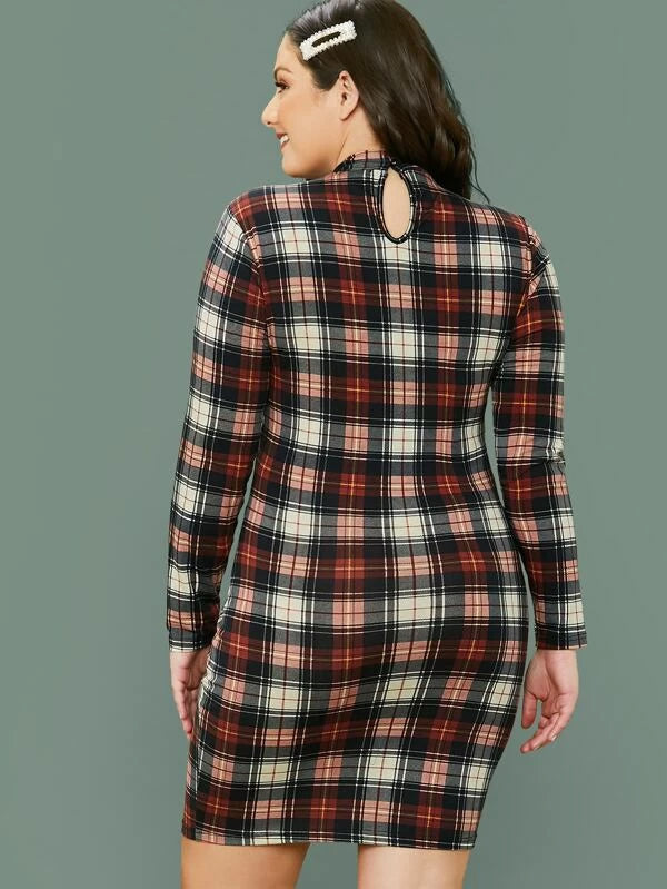 Plus Size Mock-neck Tartan Bodycon Dress