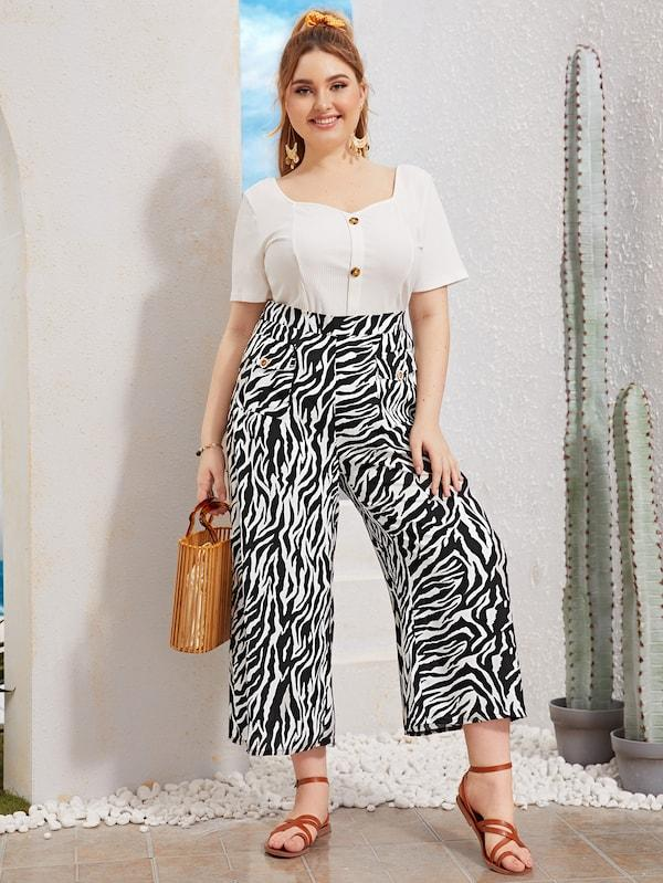Plus Size Zebra Print Wide Leg Pants
