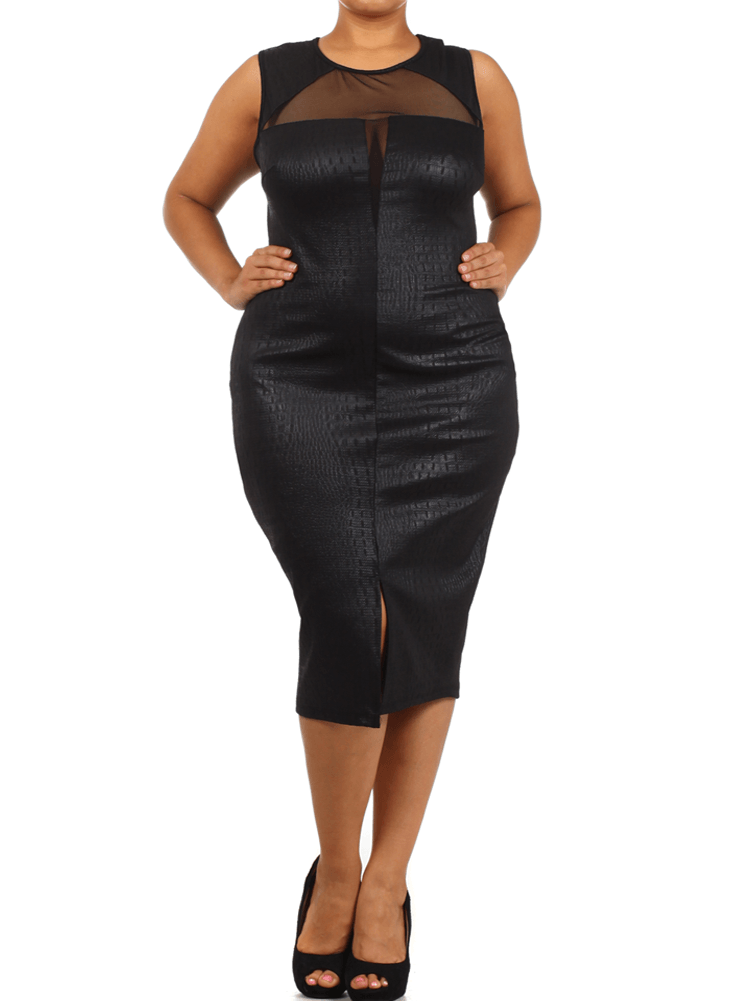 Plus Size Sensuous Alligator Skin Mesh Black Dress