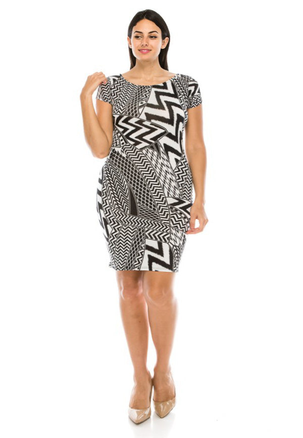 Plus Size Abstract Zig Zag Bodycon Dress