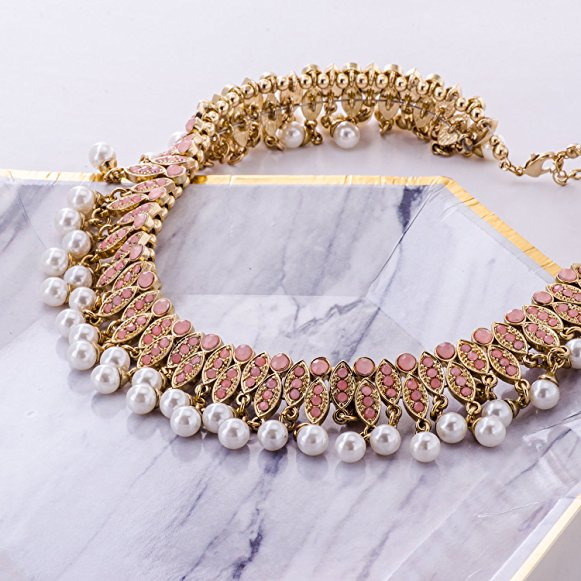 Fashion Simulated Pearl Choker Collar Necklace Gold Beaded Statement Jewelry for Women