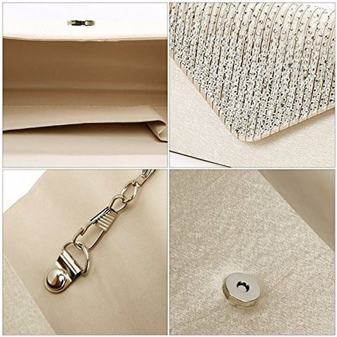 Women Rhinestone Frosted Evening Clutch Bag, Classic Pleated Envelope Clutch Handbag
