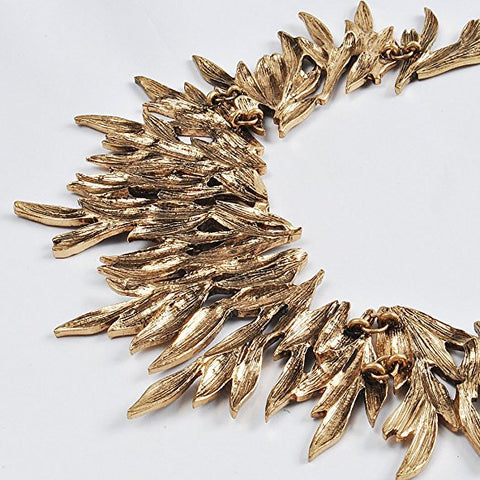 Statement Rhinestone Leaves Chip Choker Collar Bib Necklace Chunky Bling Cluster Jewelry