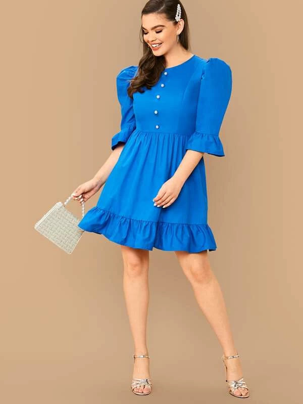 Plus Size Button Front Bell Sleeve Ruffle Dress