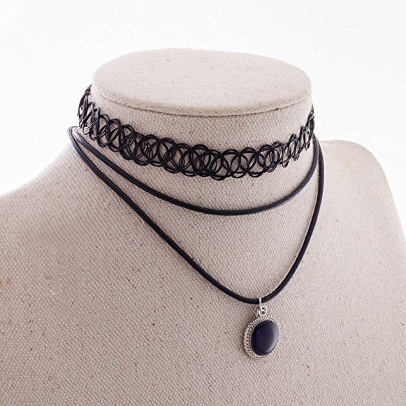 Fashion Stretch Choker Necklace Multi-Layered Leather Cord with Pendant for Women Girls