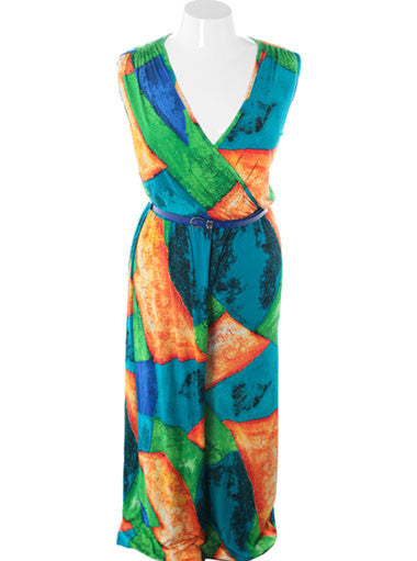 Plus Size Captivating Colorful Sleeveless Jumpsuit