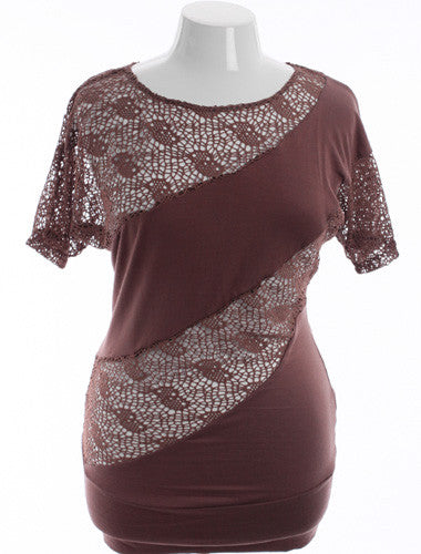 Plus Size Sexy See Through Knit Striped Brown Top