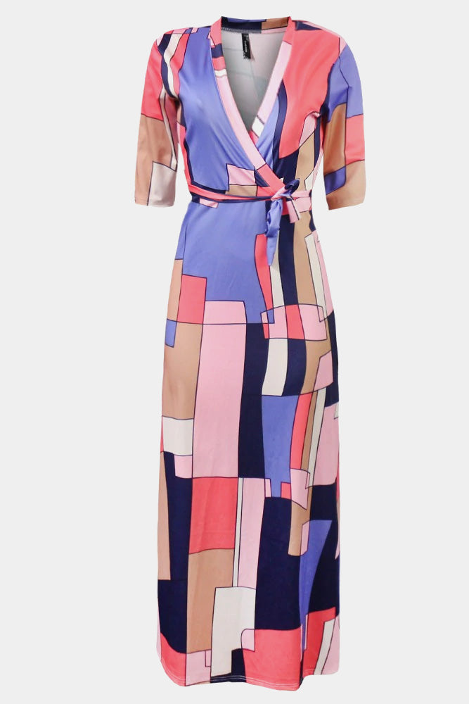 Plus Size Stand Out Overlaying Color Panels Maxi Dress