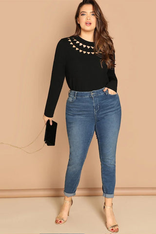 88f25469163 ... Plus Size Geo Cut Out Panel Long Sleeve Top ...