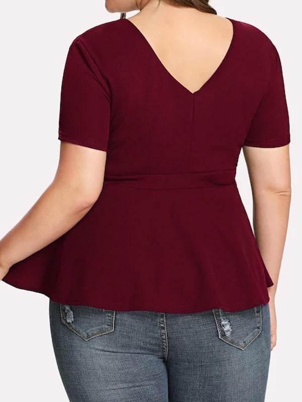 Plus Cut-Out Front Solid Peplum Top