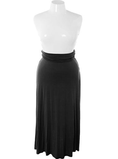 Plus Size Sexy Flowing Long Black Skirt