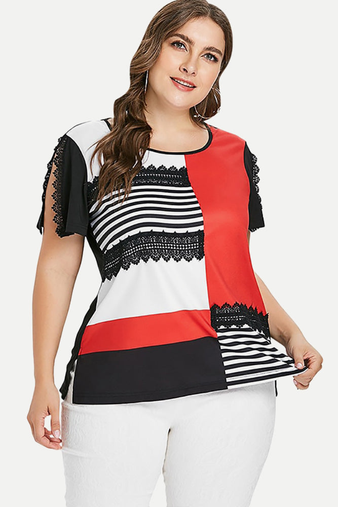 Plus Size Striped Lace Patchwork Casual Top