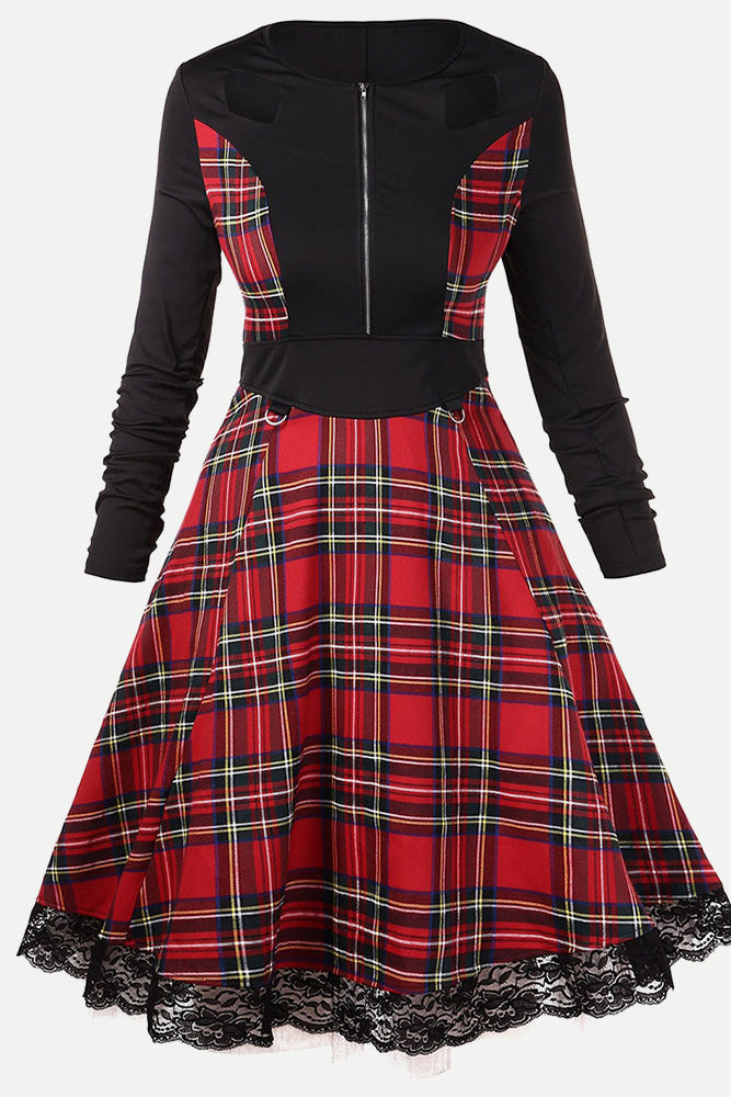 Plus Size Front Zipper Tartan Plaid Vintage Retro Dress