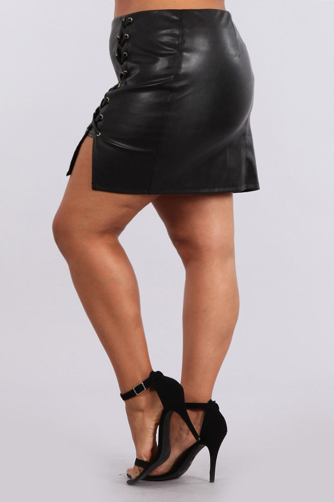 Corset Leather Plus Size Pencil Skirt