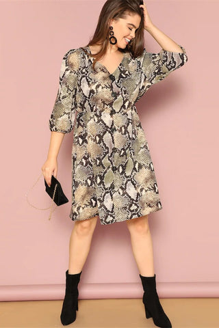 Plus Size Daring Button Front Snake Skin Pattern Dress