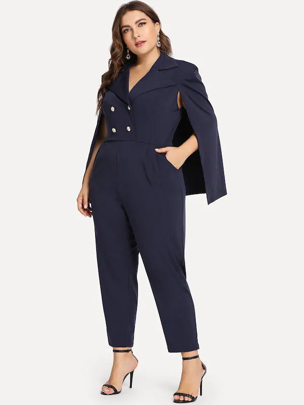 Plus Size Button Decoration Cloak Sleeve Blazer Jumpsuit